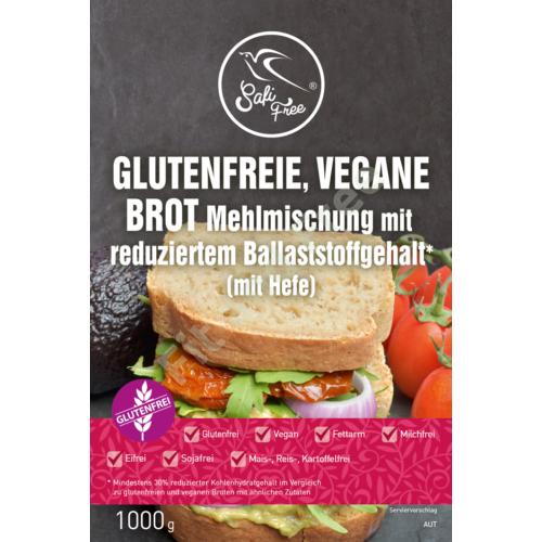 Safi Free Glutenfreie, vegane Brot Mehlmischung mit reduziertem Ballaststoffgehalt* (mit Hefe) 1000 g