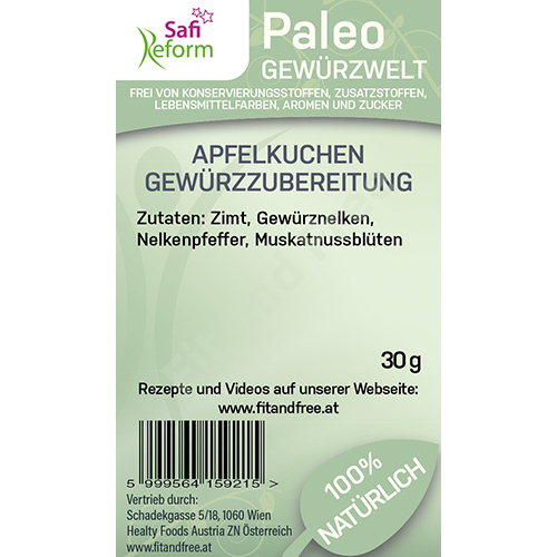 Safi Reform Paleo Apfelkuchen Gewürzzubereitung 30 g